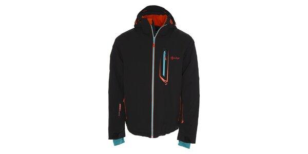 Pánska čierna lyžiarska bunda s kontrastnými detailmi Kilpi