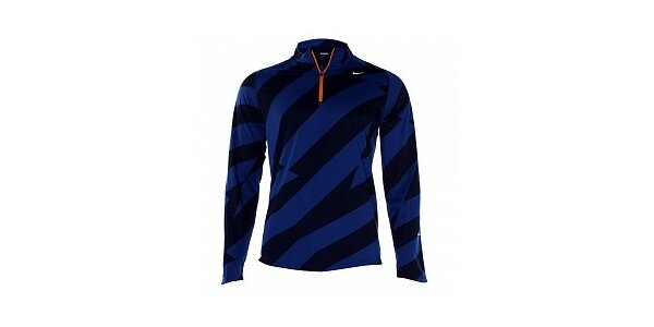 Pánske modro-čierne tričko Nike s dlhým rukávom