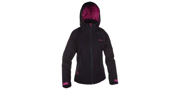 Dámska čierna outdoorová bunda s ružovými detailmi Kilpi