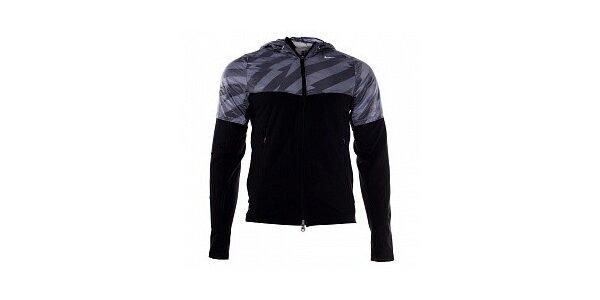 Pánska šedo-čierna bunda Nike s kapucňou