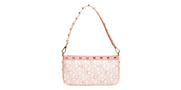 Dámska ružová kabelka s nápismi DKNY