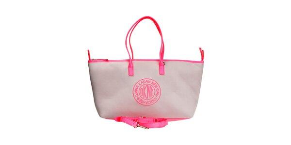 Dámska šedo-ružová podlhovastá kabelka DKNY