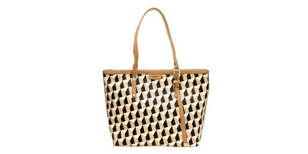 Dámska čierno-béžová kabelka so vzorom DKNY
