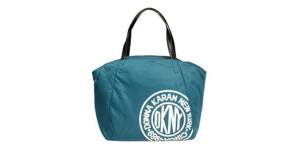 Dámska modrozelená taška s potlačou DKNY