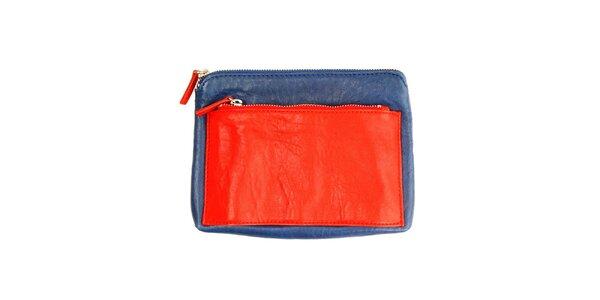 Dámska modrá listová kabelka s červeným vreckom DKNY