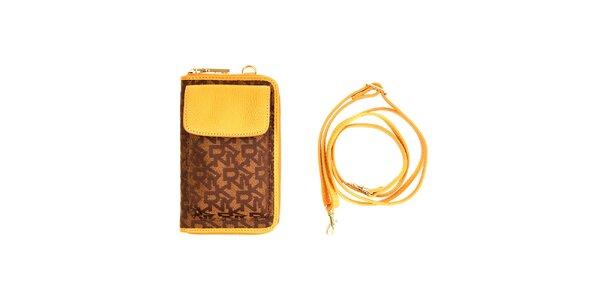 Dámska hnedo-žltá peňaženka so vzorom DKNY