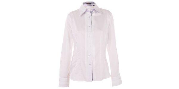 Dámska biela košeľa 7camicie s modrou pruhovanou légou