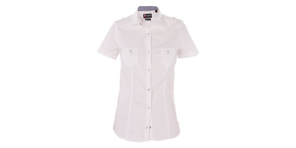Dámska biela košeľa 7camicie s modrou kockovanou légou