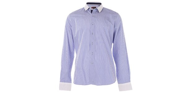 Pánska modrá prúžkovaná košeľa 7Camicie