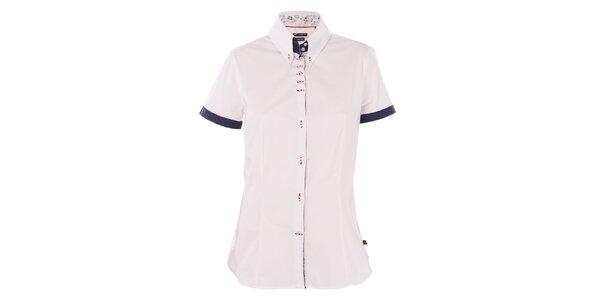 Dámska biela košeľa 7camicie s kytičkovanou légou