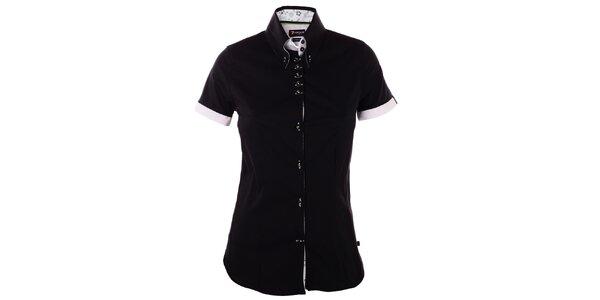 Dámska čierna košeľa 7camicie s kytičkovanou légou