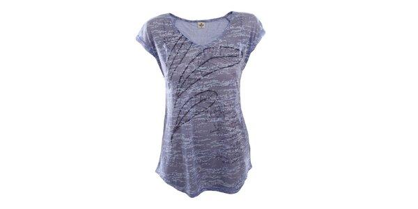 Dámske modré tričko s pierkami Timeout