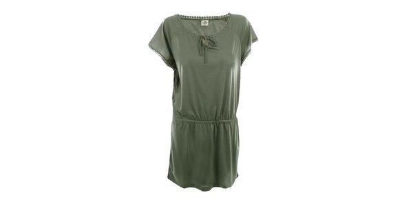 Dámske olivové voľné šaty Timeout