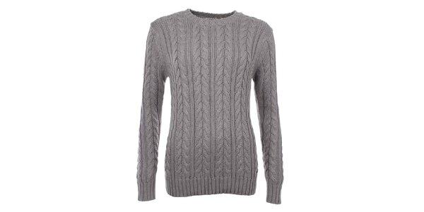 Dámsky sveter s vrkočovým vzorom v šedej farbe Timeout