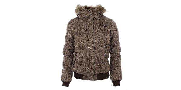 Dámska hnedá zimná bunda s kožúškom Timeout