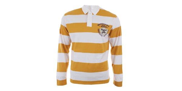 Pánske žlté polo tričko s dlhým rukávom Timeout