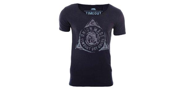Pánske tmavo modré tričko s indiánom Timeout