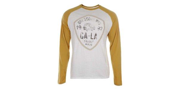 Pánske biele tričko so žltými rukávmi Timeout