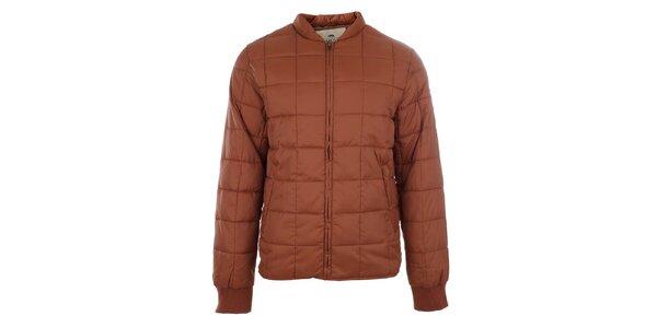 Pánska oranžová zimná bunda s prešívaním Timeout
