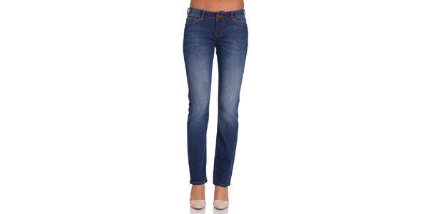 Dámske modré džínsy s jemným šisovaním Galvanni