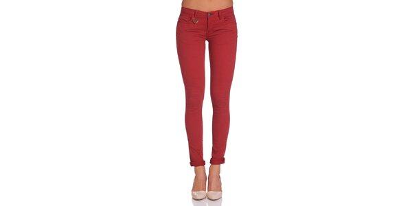 Dámske tehlovo červené nohavice Galvanni