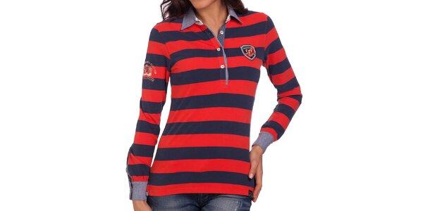 Dámske modro-červené polo tričko s dlhým rukávom Galvanni