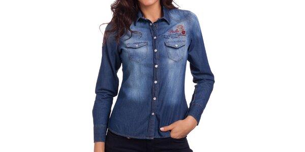 Dámska džínsová košeľa so šisovaním Galvanni