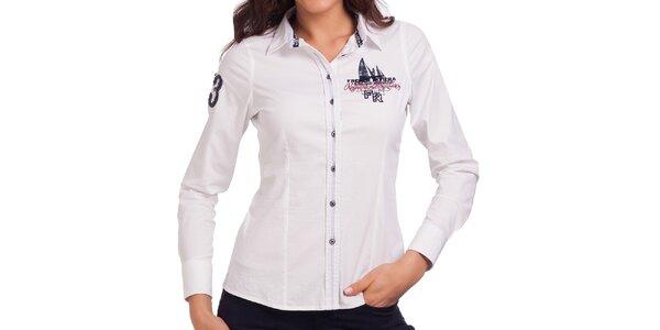 Dámska biela košeľa s nášivkami Galvanni
