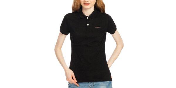 Dámske čierne polo tričko s krátkym rukávom Galvanni
