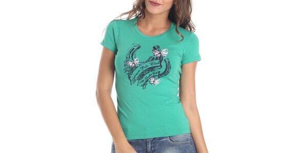 Dámske zelené tričko s potlačou Galvanni