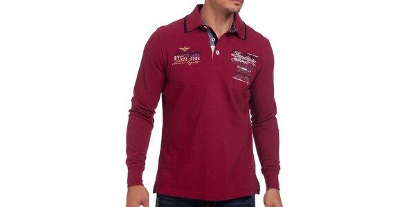 Pánske tmavo červené polo tričko s dlhým rukávom Galvanni