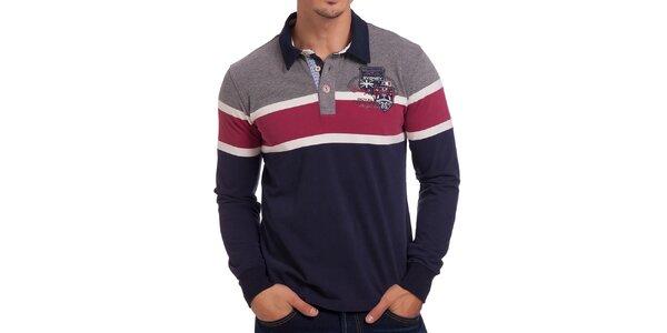 Pánske pruhované červeno-šedo-modré polo tričko Galvanni