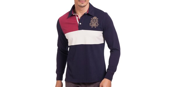 Pánske tmavomodré polo tričko s červeným a bielym polom Galvanni