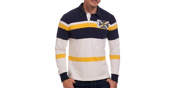 Pánske žlto pruhované polo tričko Galvanni