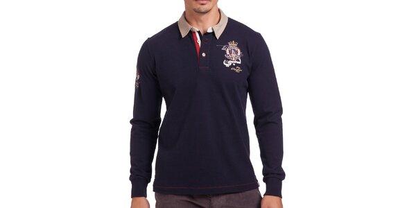 Pánske tmavomodré polo tričko s dlhým rukávom Galvanni