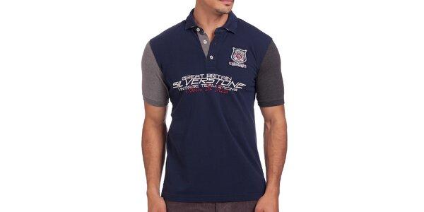 Pánske modré polo tričko s krátkymi rukávmi Galvanni