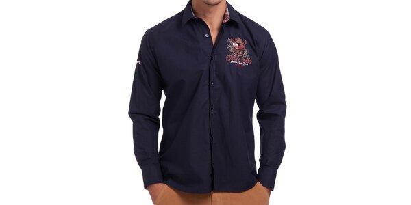 Pánska tmavomodrá košeľa s výšivkou Galvanni