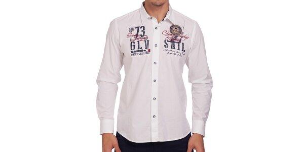 Pánska biela košeľa s dlhým rukávom Galvanni