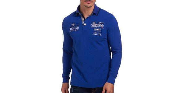 Pánske modré polo tričko s dlhým rukávom Galvanni