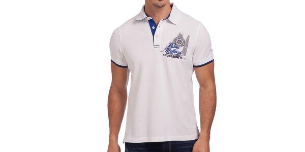 Pánske biele tričko s nápisom na chrbte Galvanni