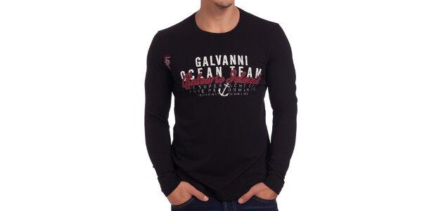 Pánske čierne tričko s dlhým rukávom Galvanni