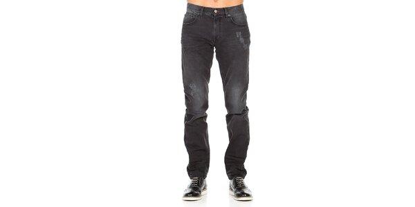 Pánske čierne džínsy so šisovaním a odreninami Galvanni