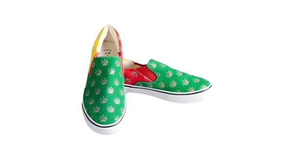 Dámske farebné topánky s rastlinnou potlačou The Bees