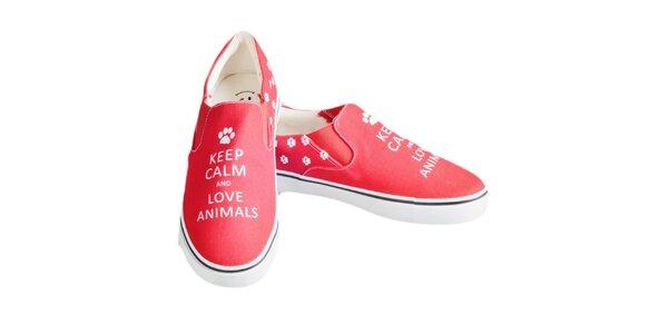 Dámske červené topánky s nápisom a labkami The Bees