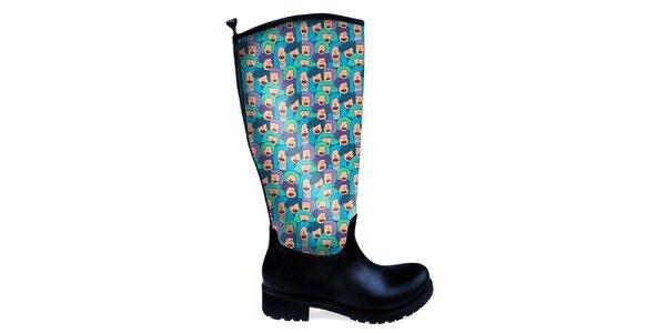 Dámske vysoké topánky do dažďa s tvárou The Bees