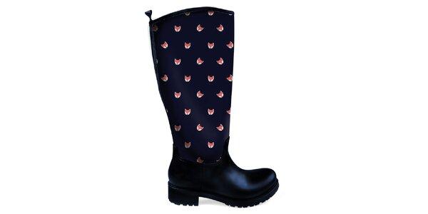 Dámske vysoké topánky do dažďa s líškami The Bees