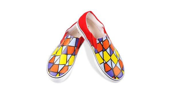 Dámske farebne vzorované topánky The Bees