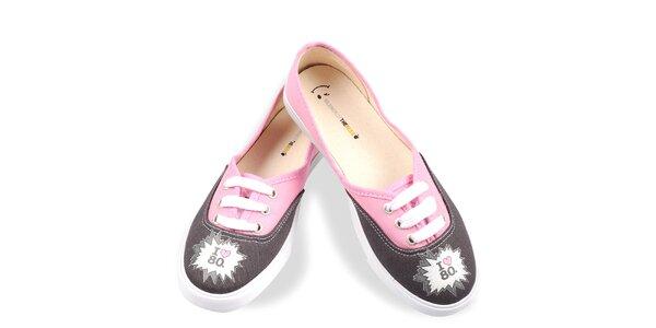 Dámske čierno-ružové topánky The Bees