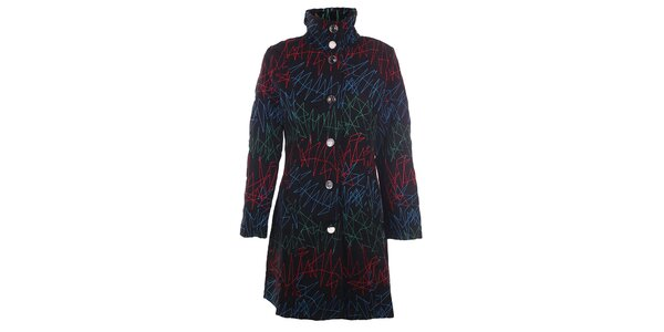 Dámsky čierny kabát s farebnou výšivkou DY Dislay Design