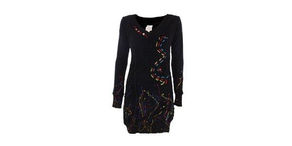 Dámske čierne šaty s farebnými detailmi DY Dislay Design